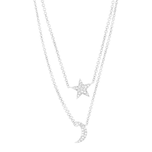 Moon and Star Double Necklace Showcase View
