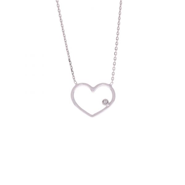 white gold heart outline necklace