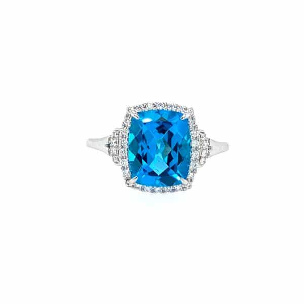 Swiss Blue Topaz and Diamond Ring by Bellarri