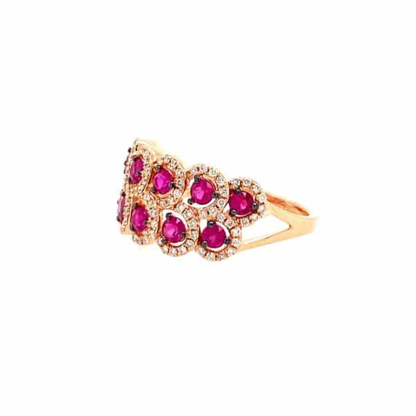 Double Row Ruby and Diamond Ring
