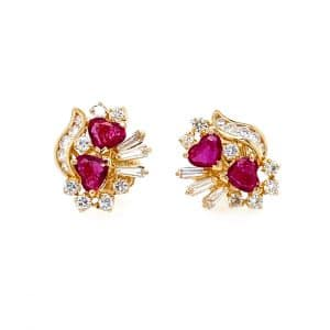 Estate Heart Ruby and Diamond Earrings