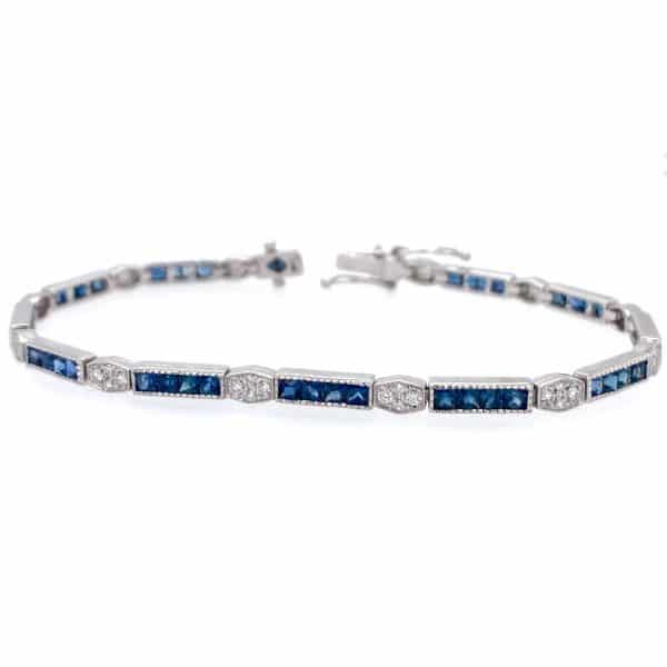 Sapphire and Princess Cut Diamond Bracelet