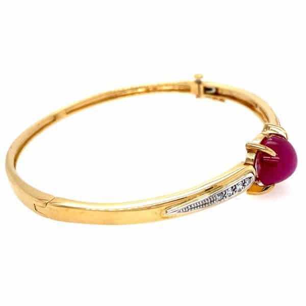 Star Ruby and Diamond Bangle