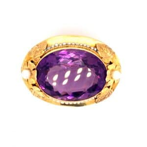 Estate Amethyst and Akoya Pearl Pin