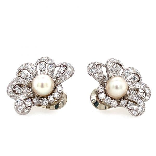 Estate Akoya Pearl and Diamond Earrings by Cartier