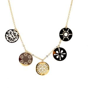 Yellow Gold Cut Out Disc Necklace