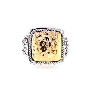 Square Hammered Top Ring
