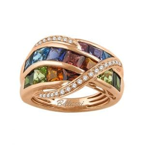 Multi-stone Diamond Crossover Ring by Bellarri