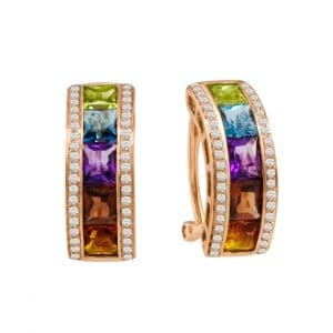 Multi-gemstone and Diamond Earrings by Bellarri