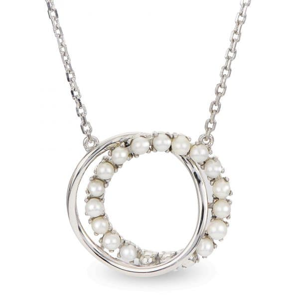 Freshwater Seed Pearl Double Circle Necklace