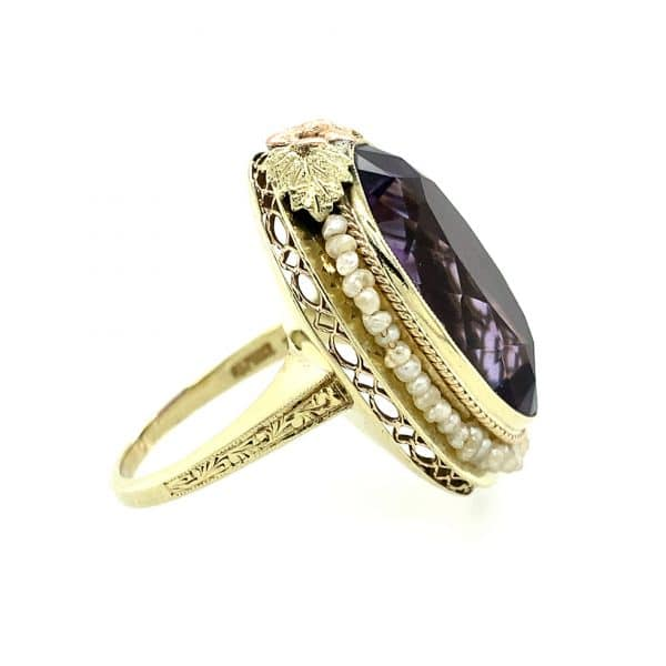 Estate Amethyst and Seed Pearl Ring