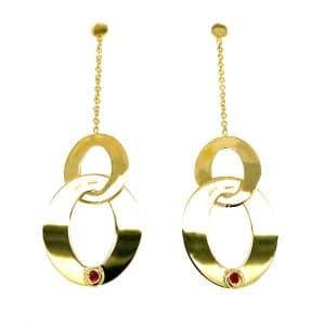 Estate Open Oval Drop Earrings