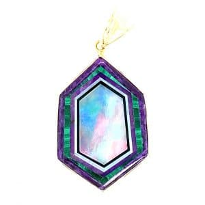 Estate Opal, Malachite, and Sugilite Inlay Pendant