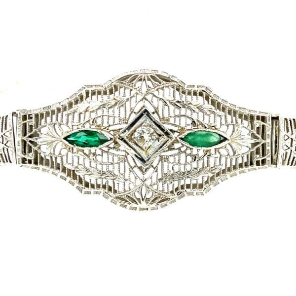Estate Synthetic Emerald and Diamond Bracelet