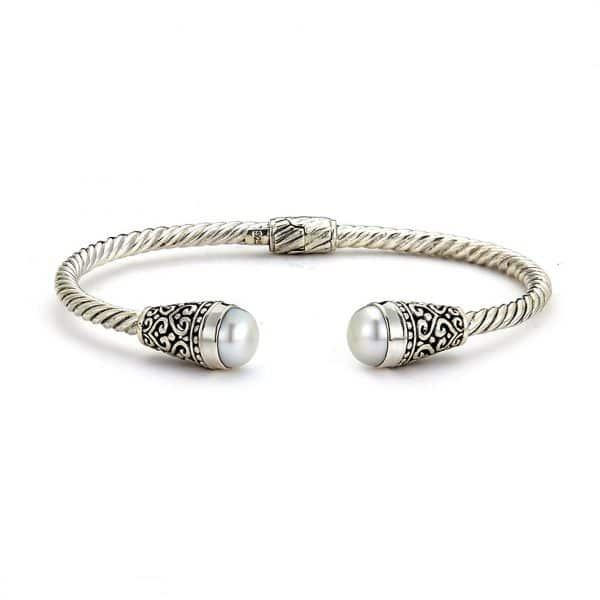 Bangle with Freshwater Pearl Ends by Samuel B.