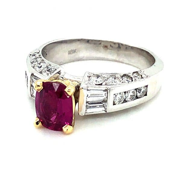 Estate Two-tone Ruby and Diamond Ring
