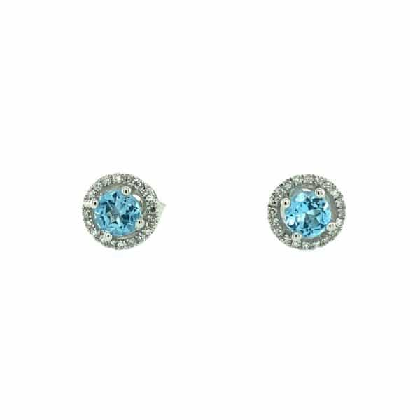 Blue Topaz and Diamond Halo Studs