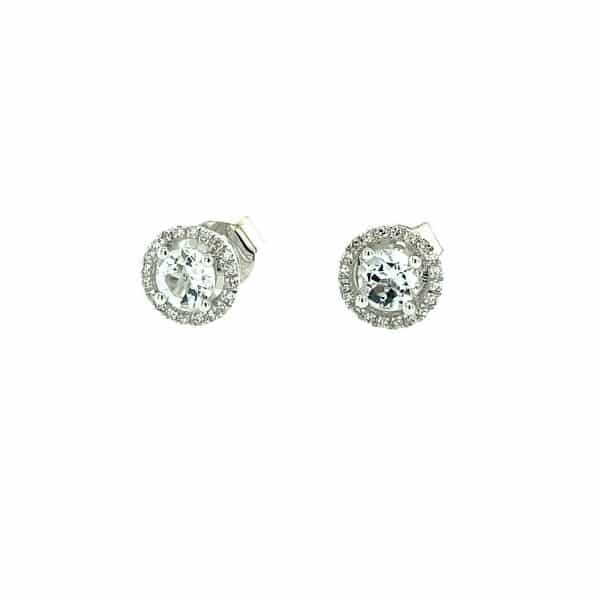 White Topaz and Diamond Halo Studs