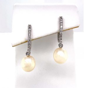 Estate Pearl and Diamond Drop Earrings