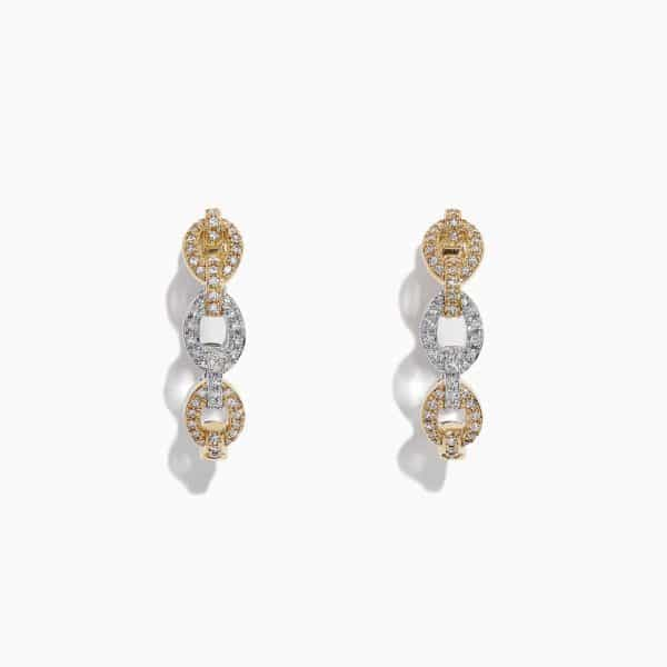 Two-tone Diamond Link Hoops by Effy