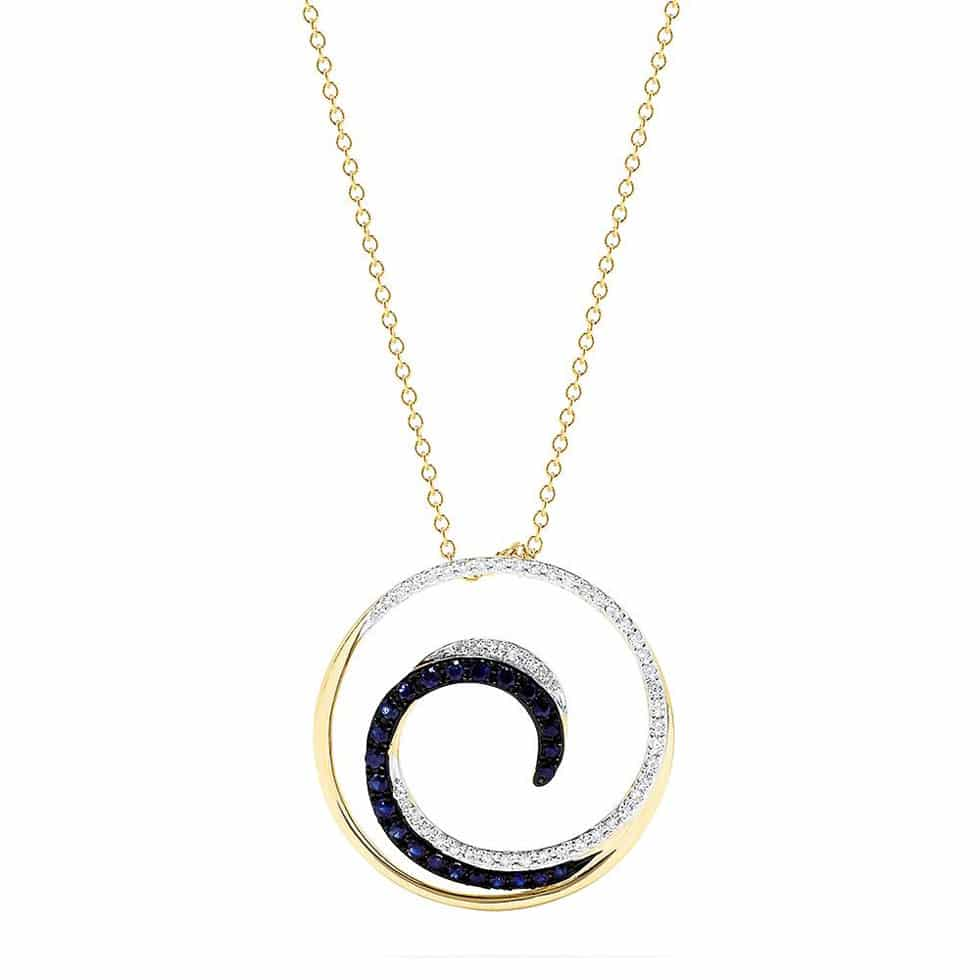Sapphire and Diamond Wave Pendant by Effy