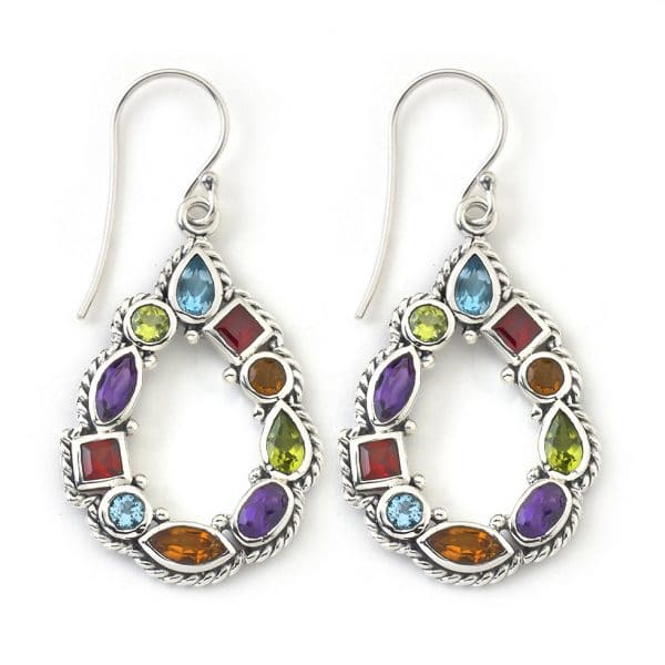Multi-Gemstone Open Teardrop Earrings