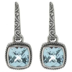 Cushion Blue Topaz Drop Earrings
