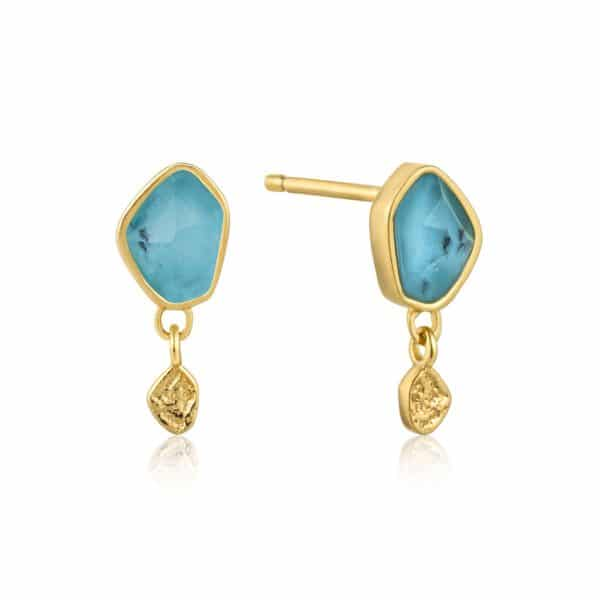 Turquoise Drop Studs by Ania Haie