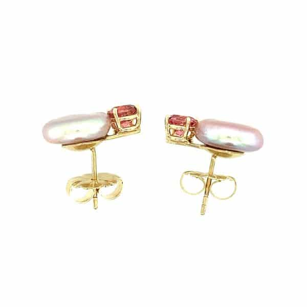 Estate Pink Pearl and Pink Tourmaline Earrings