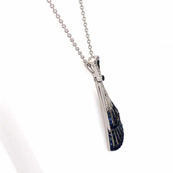 Sapphire and Diamond Fan Style Pendant
