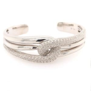 Diamond Twist Open Bangle