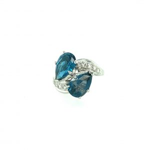 Estate Blue Topaz and Diamond Ring