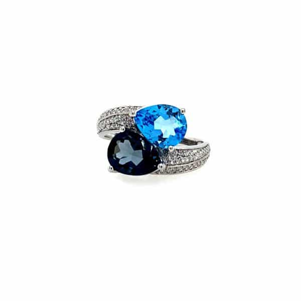Blue Topaz and Diamond Bypass Ring