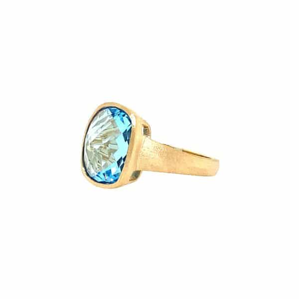 Checkerboard Blue Topaz Ring