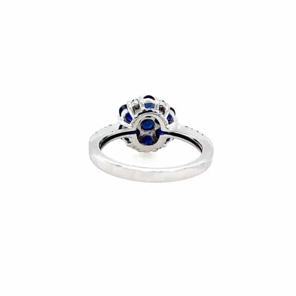 Sapphire Cluster and Diamond Ring