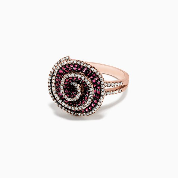 Ruby and Diamond Flower Ring