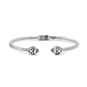 Bangle with Blue Topaz Ends