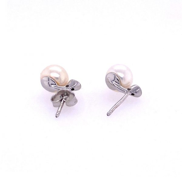 Freshwater Pearl and Diamond Studs