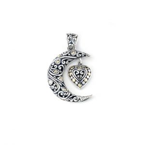 Crescent Moon and Heart Pendant