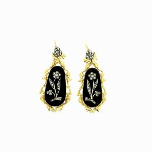 Estate Onyx Pearl and Diamond Earrings