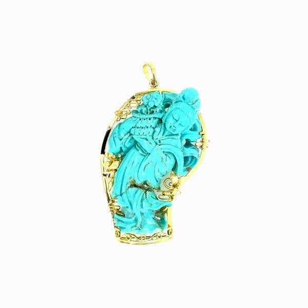 Estate Carved Turquoise Pendant