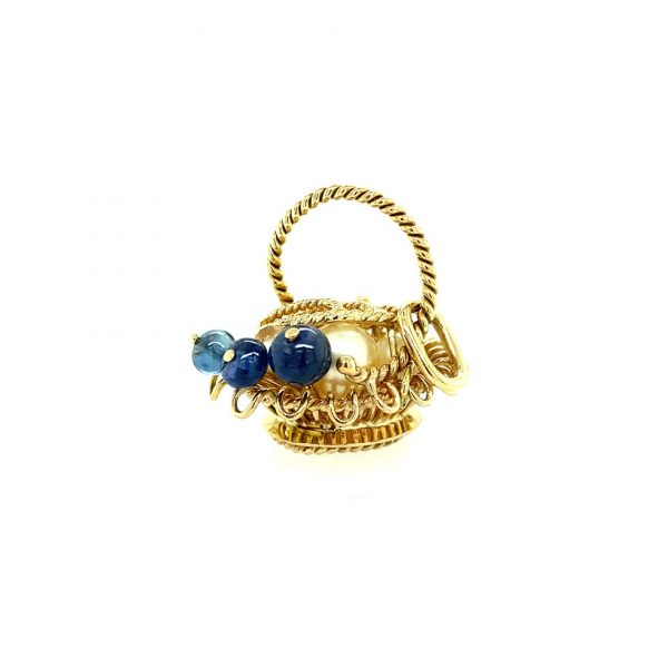 Estate Sapphire and Pearl Basket Charm