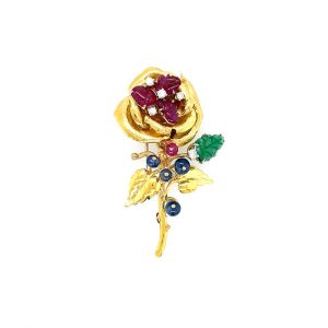 Estate Gemstone Rose Pin