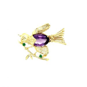 Estate Gemstone Sparrow Pin