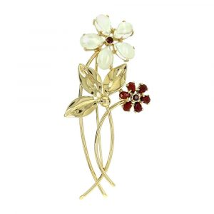 Estate Moonstone and Garnet Flower Pin