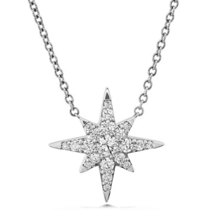 White Gold Starburst diamond pendant by hearts on fire